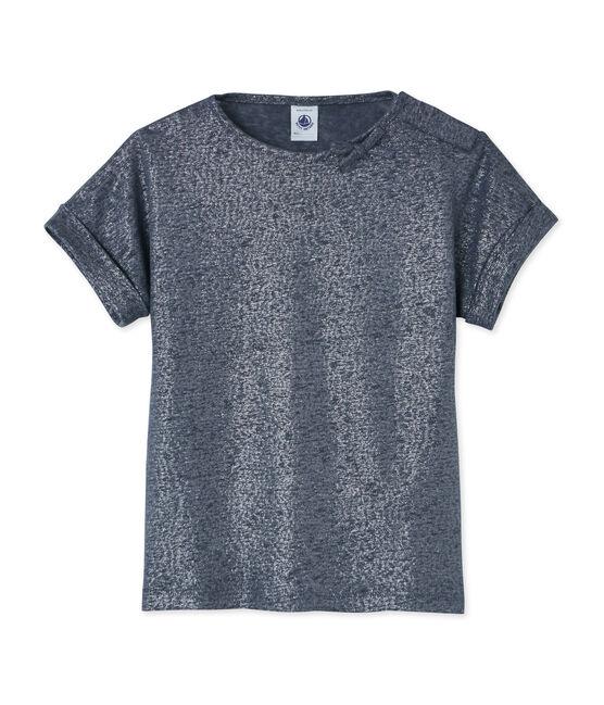 Mädchen-Kurzarmshirt grau Maki / grau Argent