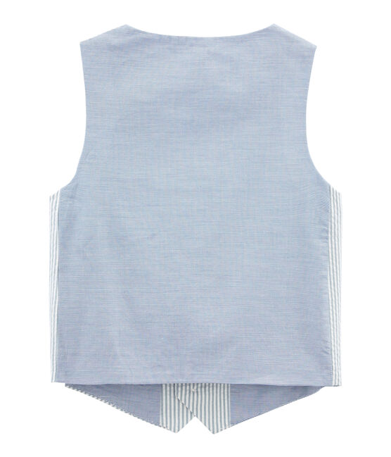 Ärmellose Strickjacke blau Fontaine / weiss Marshmallow