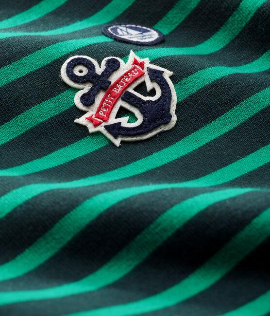 Langärmeliges Baby-Upcycling-Streifenshirt für Jungen grün Sherwood / weiss Multico