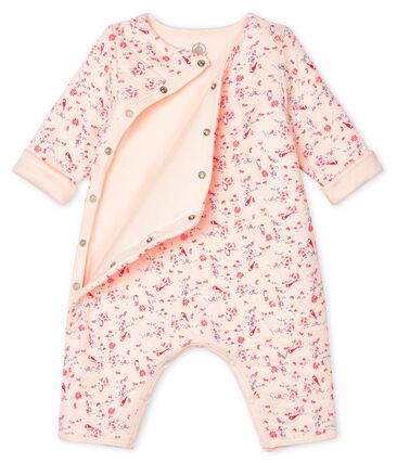 Langer Unisex-Baby-Overall aus Doppeljersey rosa Fleur / weiss Multico
