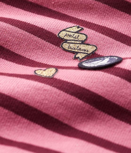 Langärmeliges Baby-Upcycling-Streifenshirt für Mädchen rosa Cheek / weiss Multico