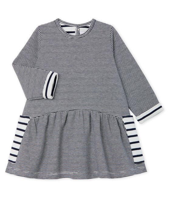 Langärmeliges gestreiftes Babykleid für Mädchen blau Smoking / weiss Marshmallow
