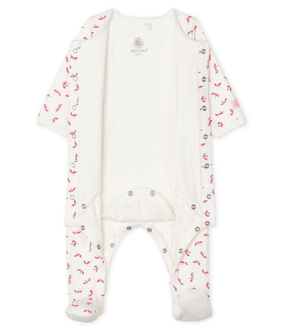 Baby-Bodyjama aus Doppeljersey für Mädchen weiss Marshmallow / rosa Groseiller