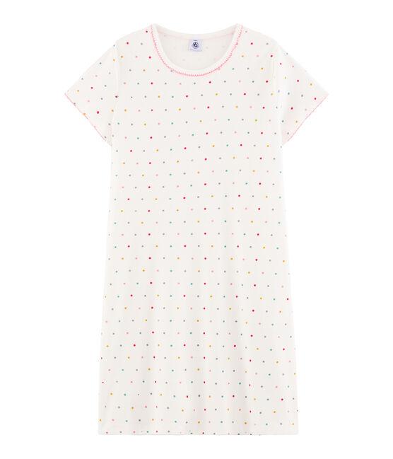 Rippstrick-Nachthemd für Mädchen weiss Marshmallow / weiss Multico