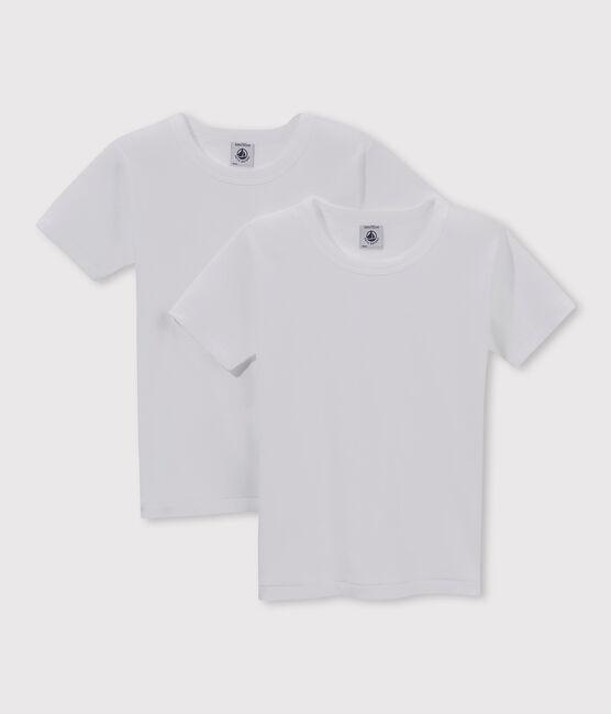 Set aus zwei weißen T-Shirts mit kurzen Ärmeln für Jungen lot .