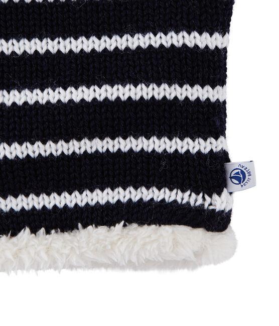 Kinder-Schlauchschal, unisex blau Smoking / weiss Marshmallow