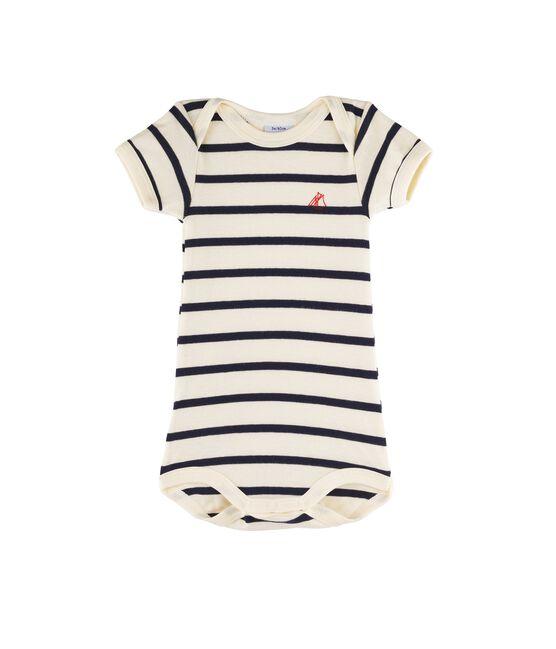 Kurzärmeliger Baby-Body für Mädchen - Jungen beige Coquille / blau Smoking