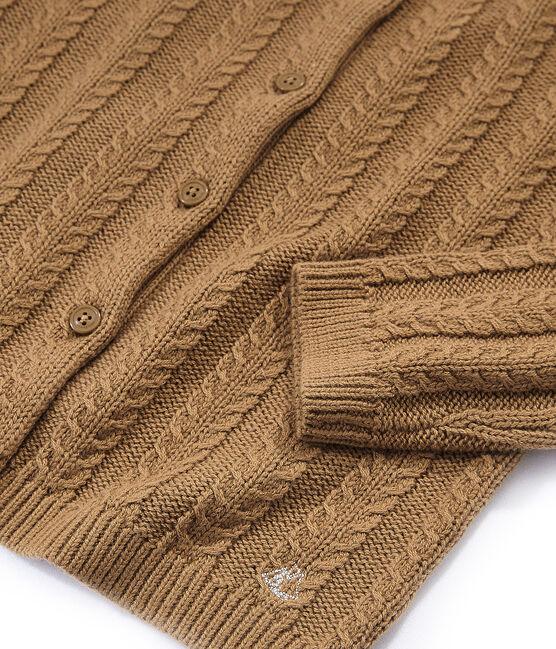 Cardigan aus Wolle/Baumwolle braun Brindille