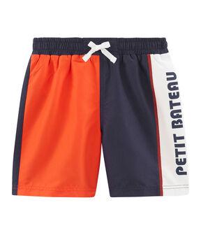 Strandshorts mit Colorblock-Effekt Kinder Jungen blau Touareg / orange Spicy