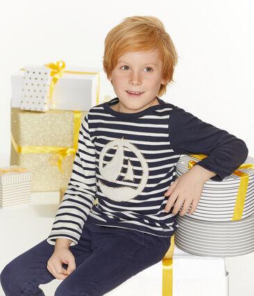Kinder-Streifenshirt Jungen weiss Marshmallow / blau Smoking