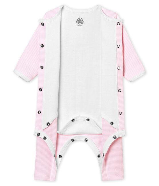Unisex Baby Strampler mit integriertem Body rosa Pearl / weiss Multico