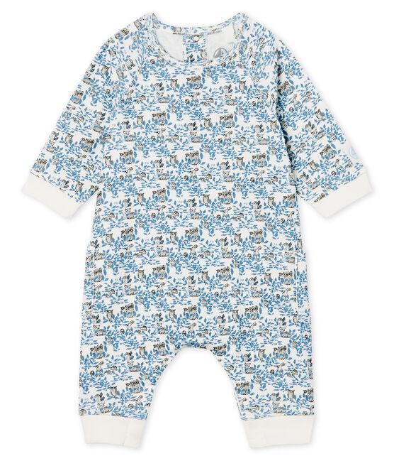 Langer Baby-Overall aus Rippstrick für Jungen weiss Marshmallow / weiss Multico