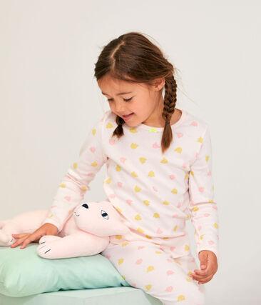Rippstrick-Pyjama für Mädchen rosa Fleur / weiss Multico