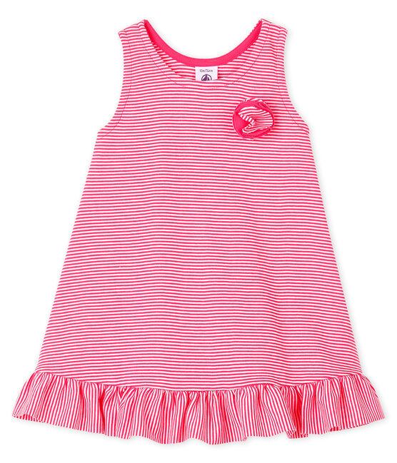 Ärmelloses Baby-Strickkleid für Mädchen rosa Geisha / weiss Marshmallow