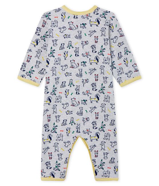 Baby-Strampler ohne Füße aus Rippstrick für Jungen grau Poussiere / weiss Multico