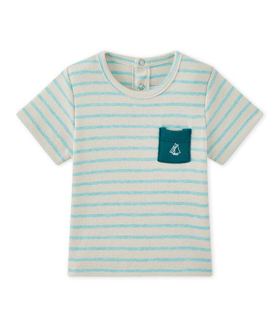 Gestreiftes Baby-Jungen-Kurzarmshirt weiss Feta / grün Adventure