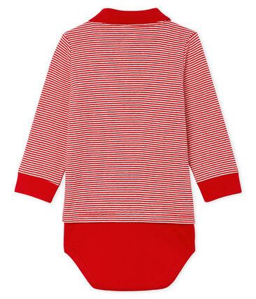 Baby-Polo-Body für Jungen, mit Milleraies-Streifenmuster. rot Terkuit / weiss Marshmallow