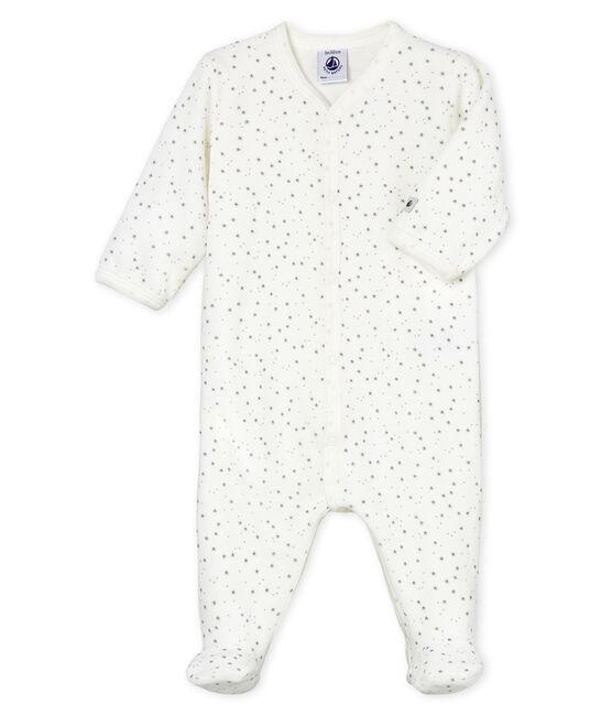 Baby-Strampler aus Samt, Unisex weiss Marshmallow / grau Concrete
