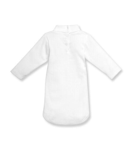 Baby-Body, Langarm, Rollkragen, Unisex, aus angerauter Baumwolle weiss Ecume