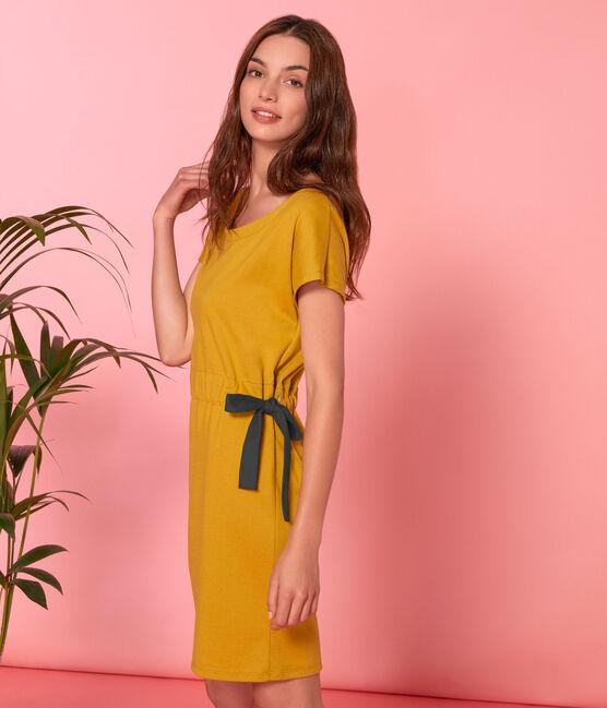 Kurzärmeliges kleid damen gelb Bamboo
