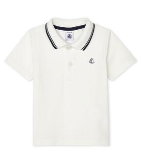 Kurzärmeliges Baby-Poloshirt für Jungen weiss Marshmallow