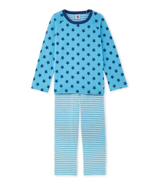 Bedruckter Jungen-Schlafanzug aus Doppeljersey mit Streifen blau Ibiza / blau Major