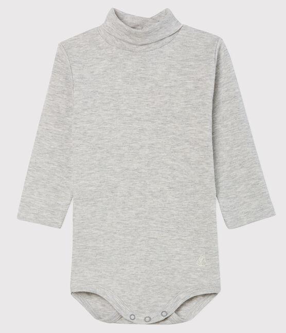 Langärmeliger Baby-Body mit Rollkragen grau Beluga
