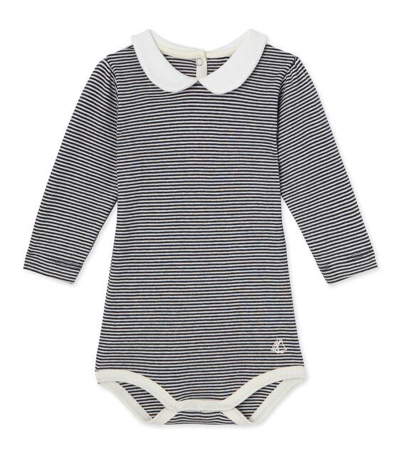 Baby-Mädchen-Body mit Milleraies-Ringelmuster blau Smoking / beige Coquille
