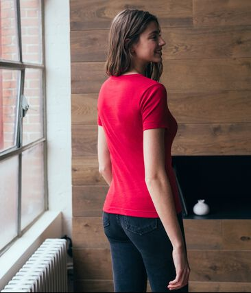 Emblematisches kurzärmliges T-Shirt für Damen rot Terkuit