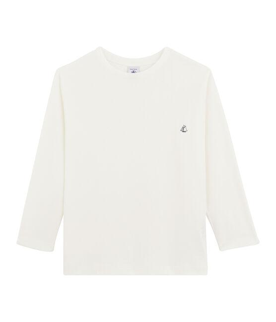 Langarm-T-Shirt für Jungen weiss Marshmallow