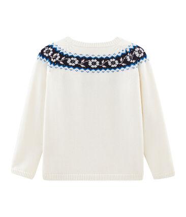 Kinder-Pullover Mädchen weiss Marshmallow / weiss Multico