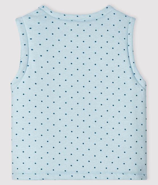 Ärmellose, wendbare Baby-Jacke in Blau aus wattiertem Rippstrick für Jungen blau Fraicheur / weiss Multico