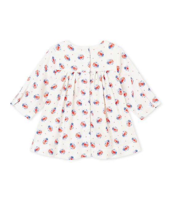 Baby-Mädchen-Kleid aus gedoppeltem Jersey mit Print weiss Lait / weiss Multico