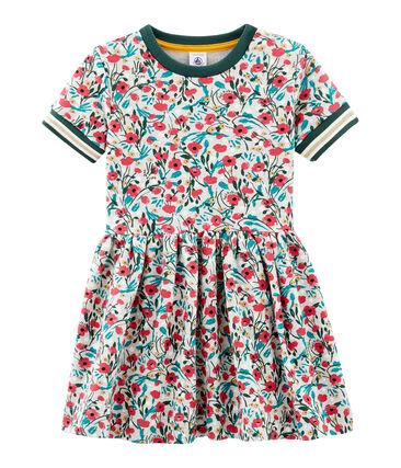 Kurzärmeliges Kinderkleid für Mädchen grau Beluga / weiss Multico