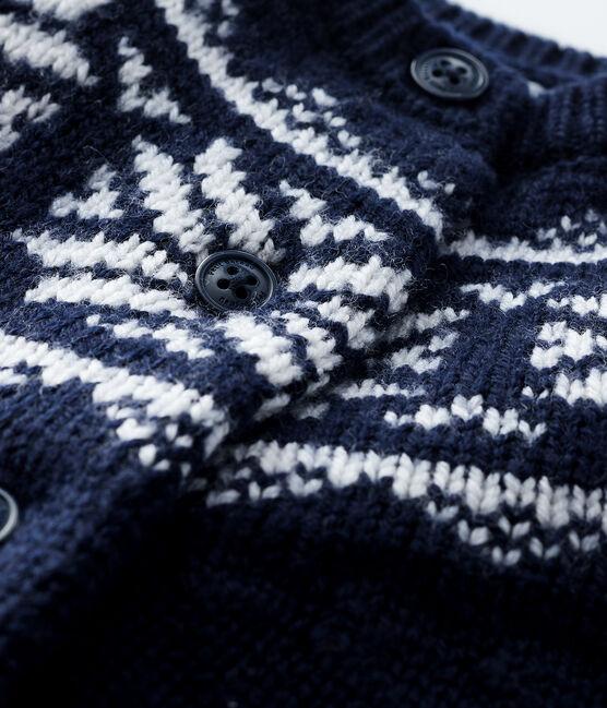 Baby-Cardigan aus 100% Wolle blau Smoking / weiss Marshmallow