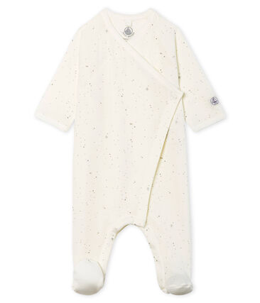 Baby Strampler aus Doppeljersey weiss Marshmallow / weiss Multico