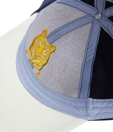 Kinderschirmmütze aus Twill für Jungen weiss Marshmallow / blau Smoking