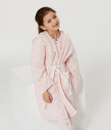 Morgenmantel aus Fleece für Kinder rosa Minois / weiss Marshmallow