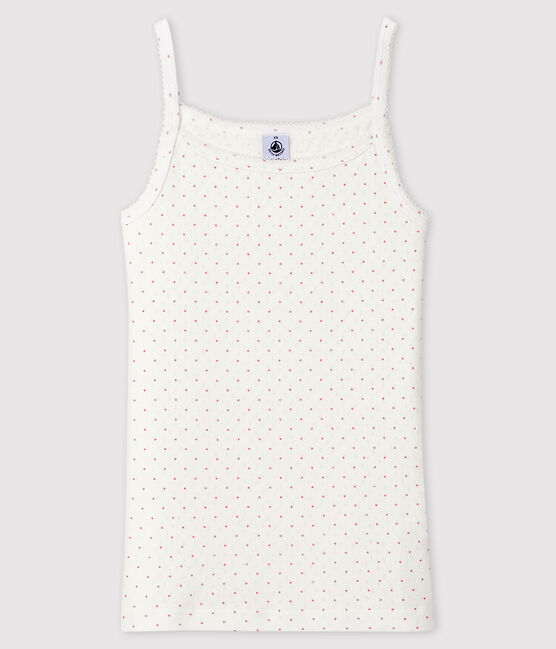 Fantasievolles Damen-Trägershirt weiss Marshmallow / rosa Charme