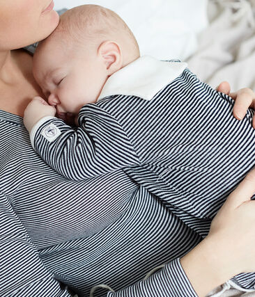 Baby-Strampler aus Samt für Jungen blau Smoking / weiss Marshmallow