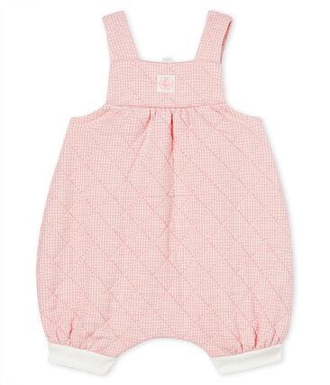 Kurze Baby-Latzhose aus gestepptem Doppeljersey rosa Charme / weiss Marshmallow