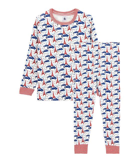 Rippstrick-Pyjama für kleine Jungen weiss Marshmallow / weiss Multico