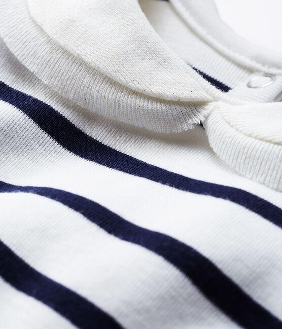 Langärmelige Baby-Bluse für Mädchen mit Streifen weiss Marshmallow / blau Smoking