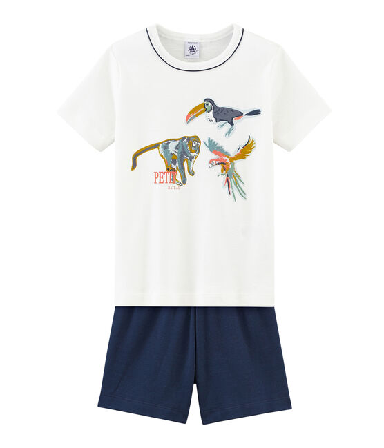 Rippstrick-Kurzpyjama für kleine Jungen blau Haddock / weiss Marshmallow