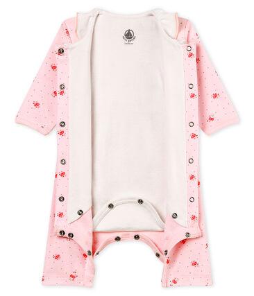 Gemusterter baby-bodyjama ohne füsse mädchen 1x1-gerippt