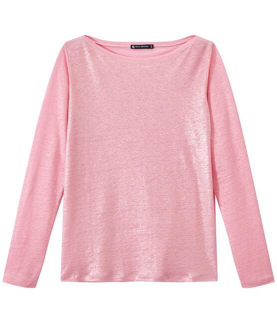 Damen-Langarmshirt aus irisierendem Leinen rosa Babylone / grau Argent