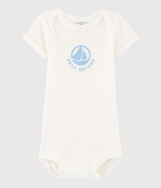 Kurzärmeliger Baby-Body Mädchen/Jungen weiss Marshmallow