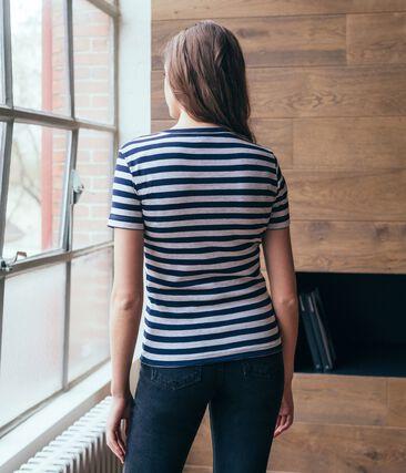 Emblematisches kurzärmliges T-Shirt für Damen blau Smoking / grau Beluga