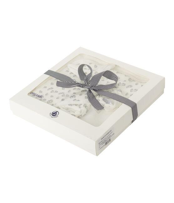 Set mit Badetuch und Babyschuhen aus Bouclé-Frottier und Rippstrick weiss Marshmallow / grau Sculpture