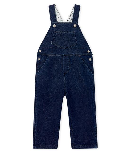 Lange Baby-Latzhose Unisex aus Strick im Denim-Look. blau Jean